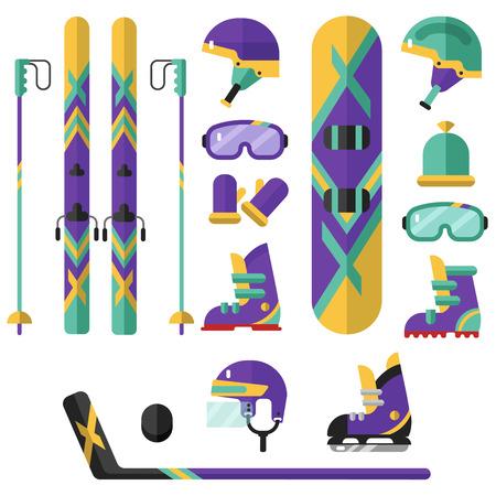 Flat design vector illustration of winter sport - hockey, snowboarding, ski. Including icons of helmets, googles or glasses, gloves, hat, boots, snowboard, ice skates, hockey puck.