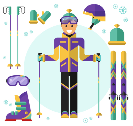 Flat design vector illustration of skiing equipment. Smiling happy skier with ski. Including icons of helmet, googles or glasses, gloves, hat, boots, ski, ski poles. Иллюстрация
