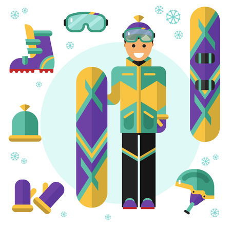 Flat design vector illustration of snowboarding equipment. Smiling happy snowboarder with board. Including icons of helmet, googles or glasses, gloves, hat, boots and snowboard.