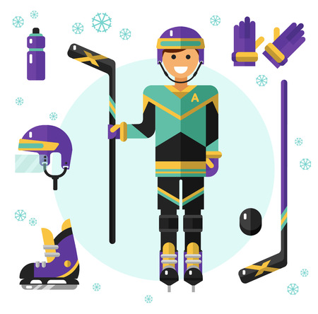 bindings: Flat design vector illustration of hockey equipment. Smiling happy hockey player with hockey stick. Including icons of helmet, bottle, hockey gloves, ice skates, hockey puck, hockey stick.