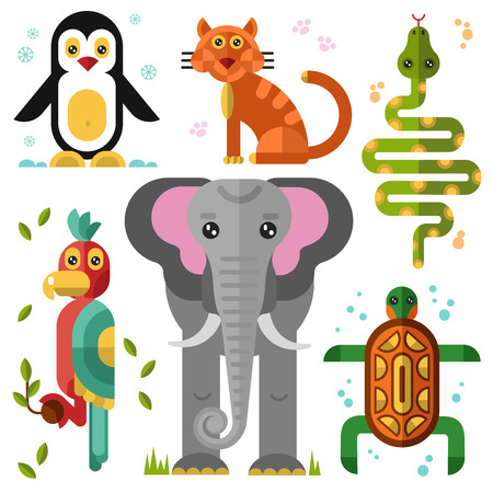 boa: Geometric flat animals: elephant, parrot, penguin, turtle, snake, boa, wild cat, cat.