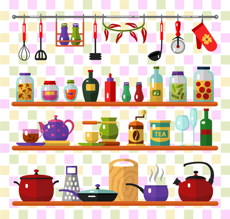 flat style icons set of kitchen utensils and cooking. Kettle, pan, tea, coffee, glasses, whisk, jam jar, bottles, salt pepper, cup, grater, olive oil.