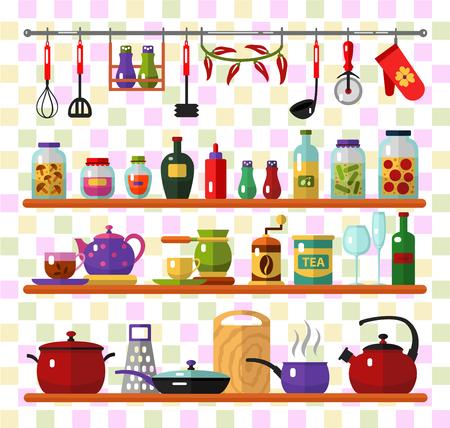 icone di stile piane set di utensili da cucina e cucina. Bollitore, pan, tè, caffè, bicchieri, frusta, barattolo di marmellata, bottiglie, sale pepe, tazza, grattugia, olio d'oliva.