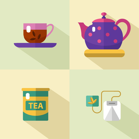 tea ceremony: Vector flat style icons set of tea with long shadows. Cup, teapot, tea can, tea, tea bag. Tea time, tea leaves, tea tools. Tea time vector symbols.