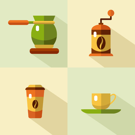 sign maker: flat style icons set of coffee products with long shadows. Cup, coffee grinder, coffee maker. Coffee break, coffee bean, coffee tools.