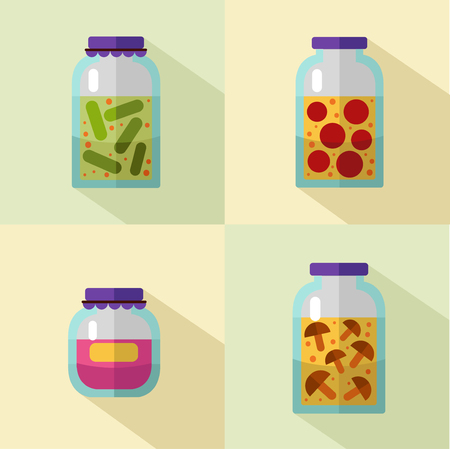 food preservation: flat style icons set of banks with home canned vegetables and fruits with long shadows. Banks of tomatoes, cucumbers, mushroom, fruit jams, juice or honey. Illustration