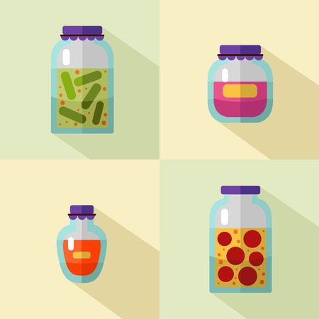 nectar: flat style icons set of banks with home canned vegetables and jam with long shadows. Banks of tomatoes, cucumbers, fruit jams, juice or honey.