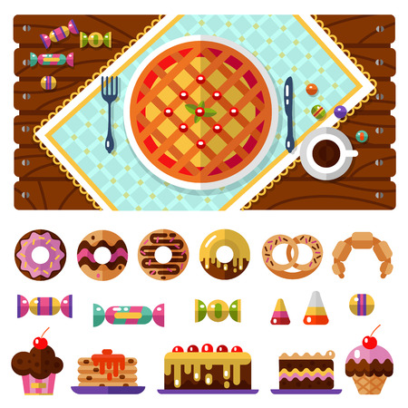 Table with pie, knife and fork, tablecloths or napkins top view. Dessert icons set. Cup with coffee or tea, donuts, cake, cookie, candy, muffin croissant and pretzel in flat design. Illustration