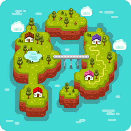 flat style illustration of landscape with sea, islands, bridge and road, rural, fishermen village, trees and pond. Isometric 3d stock illustration.