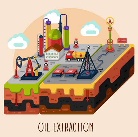 extraction of oil: flat style stock infographic of oil and gas extraction, oil rig, oil pumping station, oil storage, oil factory. Isometric 3d illustration. Oil and gas extraction concept.