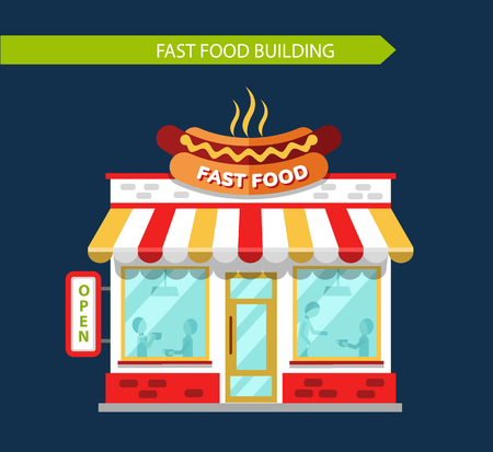eating food: Fast food restauraunt building facade with signboards. Signboard with big hot dog. People eating and drinking at the tables inside the building. Flat style vector illustration. Illustration