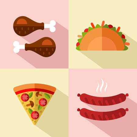 saucisse: Vecteur de style plat icons set de fast-food, la nourriture d'ordure avec une longue ombre. Tacos, cuisses de poulet, tranche de pizza, des saucisses.