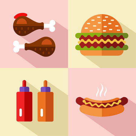 food drink: Vector flat style icons set of fast food, junk food with long shadow. Hamburger or cheeseburger, chicken legs, ketchup and mustard, hot dog.