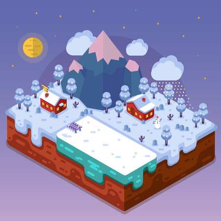 seasons cartoon: Flat design nature winter landscape illustration of village near the lake. Mountains, cartoon houses, snowman, pond, moon, clouds, snowfall and forest. Night landscape in isometric.