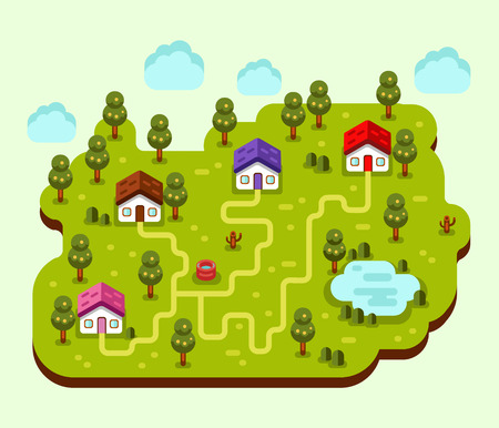 footpath: Vector flat style illustration of cartoon village, trees, well, footpath and pond. Isometric 3d stock illustration. Illustration