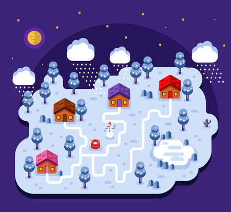 night moon: Vector flat style illustration of cartoon village, trees, well, footpath and pond. Isometric 3d stock illustration. Cartoon night winter landscape with snowfall. Illustration