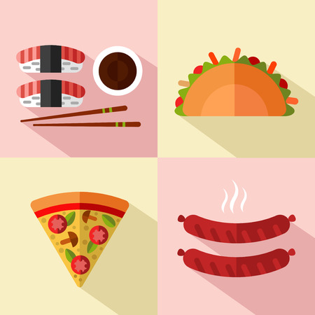 german food: Vector flat style icons set of fast food, junk food of different countries with long shadow. Japanese, Italian, Mexican, German food. Tacos, sushi, slice of pizza, hot sausage.