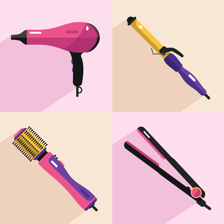 hair curler: Flat vector cosmetics icons set of hair styling tools for website in pastel colors. Hairdryer, hair curler, hair straightener, hairdryer brush. Illustration