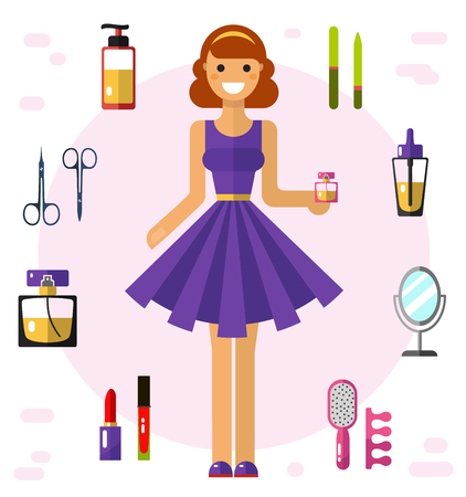 pretty dress: Flat vector illustration of beautiful girl in pretty dress with essence. Cosmetics and beauty icons: perfume bottle, lipstick, lip gloss, nail files, mirror, scissors, bottles, pedicure equipment.