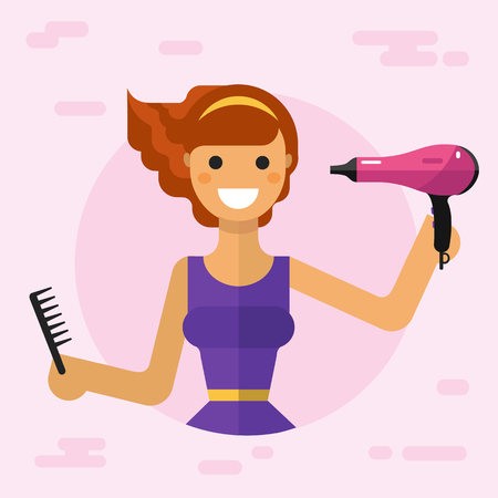 hair brush: Flat vector illustration of beautiful smiling girl with hair dryer and hair brush dries her hair. Hair care concept.