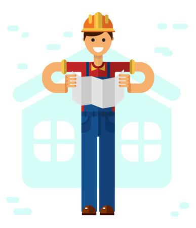 paper work: Vector flat style illustration of young smiling construction builder or worker in hardhat, standing with paper work isolated on white background.