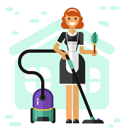 Flat vector illustration of household and cleaning. Smiling french maid with vacuum cleaner and broom. Housekeeping concept