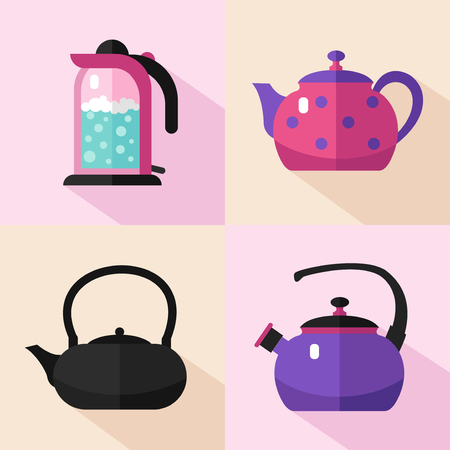 boiling water: Vector flat style icons set of different types of kettles with long shadows. Teapot, electric kettle, coffee pot, kettle with boiling water. Kitchen utensils stock illustration.