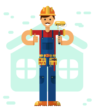 built: Vector flat style illustration of smiling construction builder or worker with mustache in hardhat, standing with paint roller, equipment and thumbs-up isolated on white background.