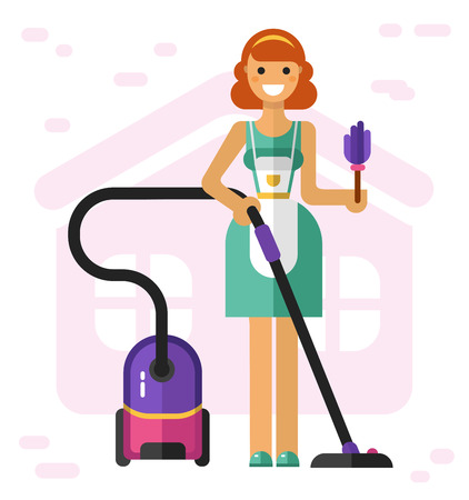 Flat vector illustration of household and cleaning. Smiling housewife with vacuum cleaner and broom. Housekeeping concept Stock Illustratie