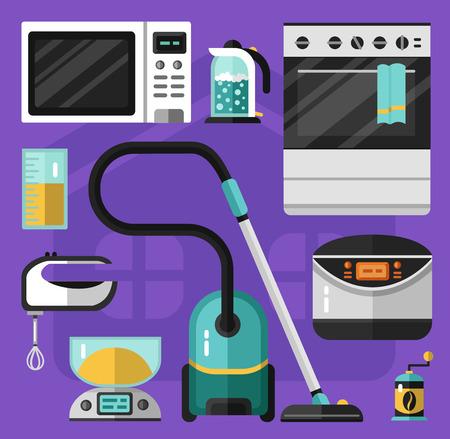 cocina caricatura: iconos planos del vector Conjunto de electrodom�sticos. aspirador, horno microondas, batidora, escalas el�ctricas, hervidor de agua, una taza de medir, estufa, m�quina de hacer pan, molinillo de caf�. Utensilios de la ilustraci�n. Vectores