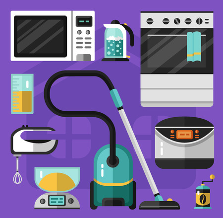 electric kettle: Vector flat icons set of appliance. Vacuum cleaner, microwave oven, mixer, electric scales, electric kettle, measuring cup, stove, breadmaker, coffee grinder. Kitchen utensils illustration. Illustration