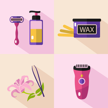 Flat vector cosmetics icons set of epilation for website in pastel colors. Bottle of wax, shaving razor with gel, eyebrow tweezers, clipper. Stock Illustratie