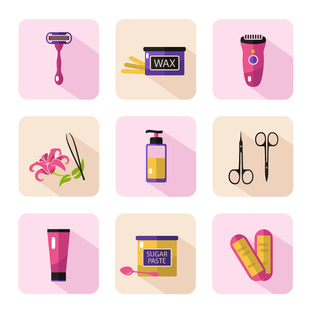 Big flat vector cosmetics icons set of epilation for website in pastel colors. Bottle of wax, bottle of sugar paste for sugaring, scissors, wax strips, shaving razor, eyebrow tweezers, clipper. Stock Illustratie