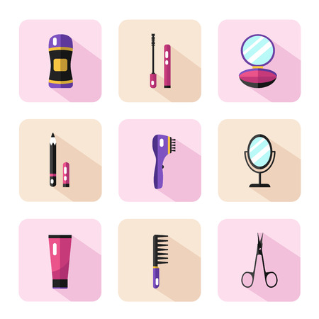 separator: Vector flat style icons set of beauty, makeup and cosmetics products. Deodorant, scissors, mascara, mirror, hair brush, cream, eyeliner, fingers separator, face powder.