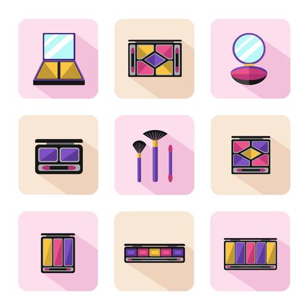 pallette: Vecteur de style plat icons set de la beaut�, le maquillage et les produits cosm�tiques. Diff�rents types de pallette d'ombre, poudre compacte, fard � joues ou anticernes avec des brosses.