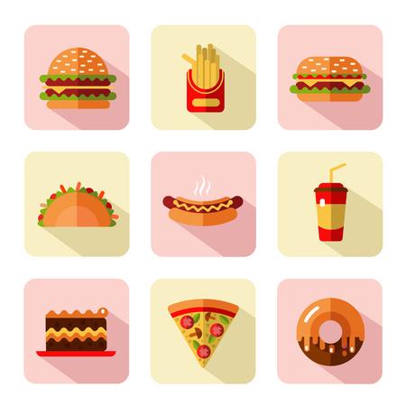 cheeseburger with fries: Big vector flat style icons set of fast food, junk food with long shadow. Tacos, popcorn, cheeseburger, hamburger, soda, hotdog, donut, french fries, slice of pizza, cake.