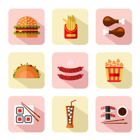 japanese dessert: Big vector flat style icons set of fast food, junk food with long shadow. Tacos, chicken legs, popcorn, cheeseburger or hamburger, soda, hot sausage, french fries and sushi.