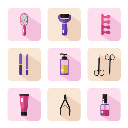 separator: Vector flat style icons set of beauty, makeup and cosmetics products. Cream, scissors, nail files, nail polish, electric foot file, fingers separator. Pedicure procedure. Illustration