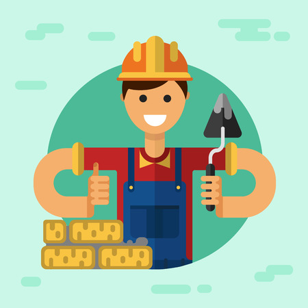 putty knife: Vector flat style illustration of young smiling construction builder or worker in hardhat with spatula, brick and thumbs-up.