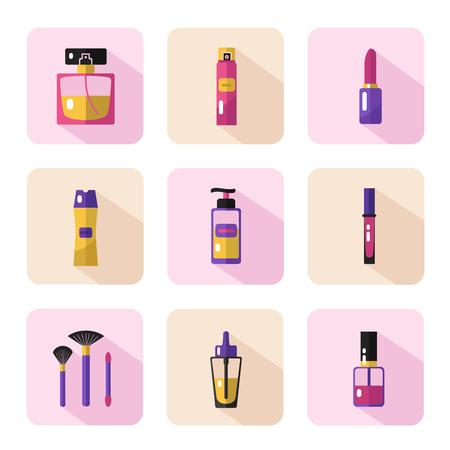Vecteur de style plat icons set de la beauté, le maquillage et les produits cosmétiques. Flacon de parfum, shampooing, rouge à lèvres, brillant à lèvres, vernis à ongles, brosses, laque pour les cheveux ou déodorant spray, huile. Vecteurs