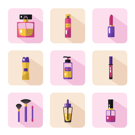 lip gloss: Vector flat style icons set of beauty, makeup and cosmetics products. Perfume bottle, shampoo, lipstick, lip gloss, nail polish, brushes, hair spray or deodorant spray, oil.