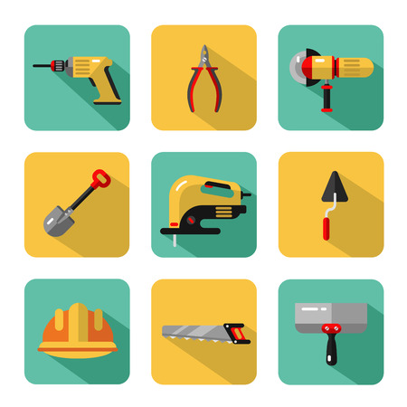 jig: Icons set of construction tools: pliers, drill, spatula, helmet, shovel, saw, electric jig saw, angle grinder.