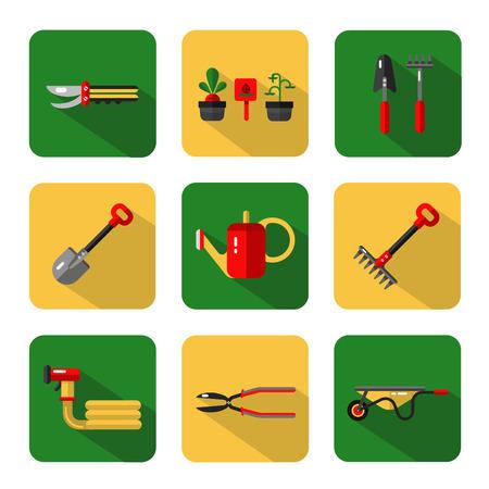 secateurs: Icons set of garden work tools: secateurs, watering can, shovel, rake, garden cart, garden hose Illustration