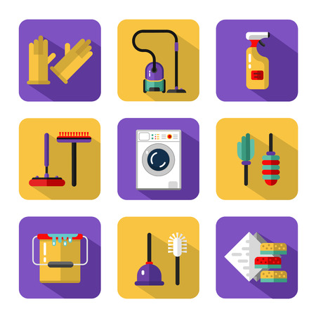 sponges: Icons set of housekeeping or household cleaning. Vacuum cleaner, washing machine, gloves, brush and mop, wiper, sponges, plunger, brush, bucket, broom. Housekeeping equipment and accessories. Illustration