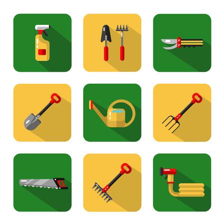secateurs: Icons set of garden work tools: secateurs, spray, watering can, shovel, rake, fork, saw