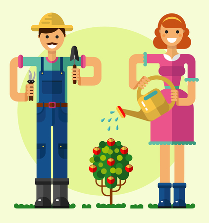 rose bush: Flat style illustration of smiling boy and girl taking care of garden with shovel, pruner, watering can. Girl watering the rose bush. Gardening and agriculture concept.