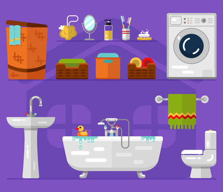 faience: Flat icons set of bathroom interior. Washing machine, boxes with towel, sink, bath, toilet, laundry basket, mirror, toothbrushes, soap, sponge, shower gel. Illustration of house appliances.