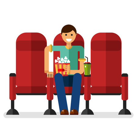 watching movie: Flat style illustration of young smiling boy in the cinema with popcorn and soda watching movie. People in the cinema concept isolated on white background.