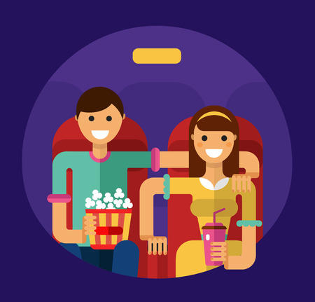 watching movie: Flat style illustration of young smiling girl and boy in the cinema with popcorn and soda watching movie. People in the cinema concept.
