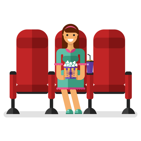 watching movie: Flat style illustration of young smiling girl in the cinema with popcorn and soda watching movie. People in the cinema concept isolated on white background.
